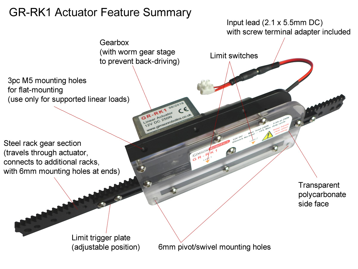 Adjustable Travel 12v Dc Rack Amp Pinion Linear Actuator