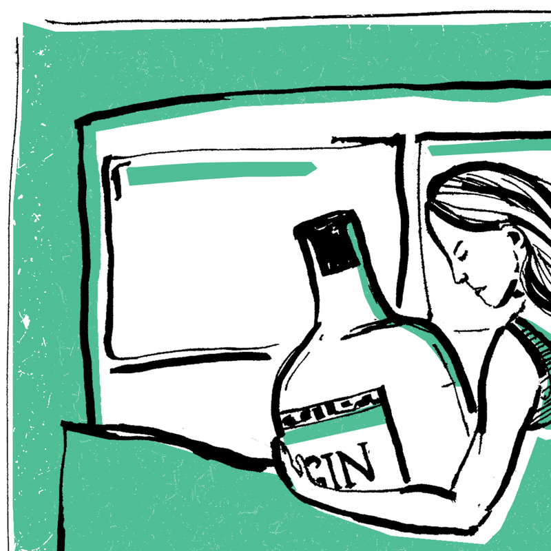 Woman spooning a bottle of gin