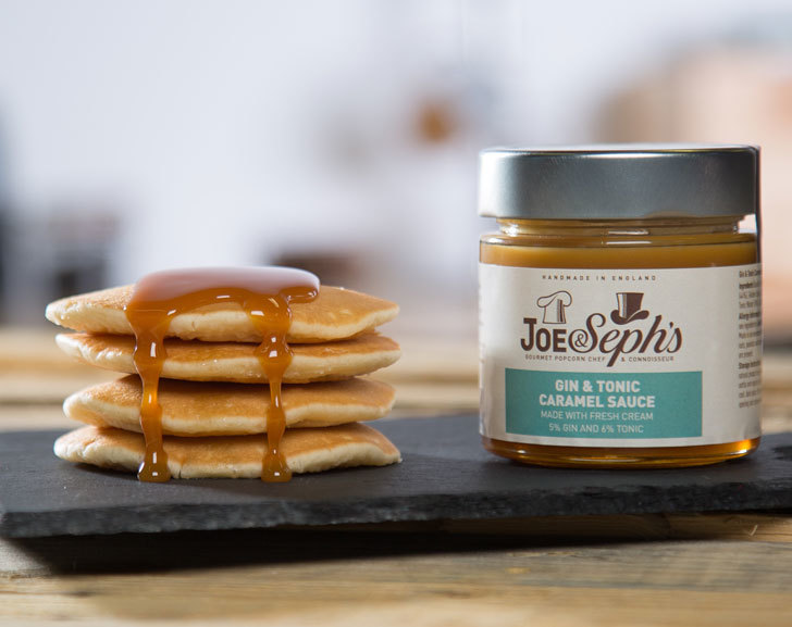 Joe & Seph's Gin & Tonic Caramel Sauce with Pancakes