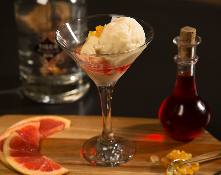 Gin Ice Cream with Blood Orange Syrup