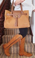 leather handbags for women, matching colours and varying sizes. Adjustable and wearable year round