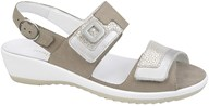 Waldlaufer Beige & Silver Leather Velcro Sandal