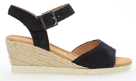 Gabor 'Nieve' Navy Suede Leather Wedge Sandal