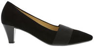 Gabor ' Folky'  Black Suede Court Shoe