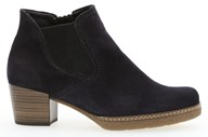 Gabor 'Lilia' Navy Blue Suede Mid Heel Ankle Boot