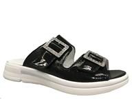 Waldlaufer Black Sparkle Slip-On Sandal