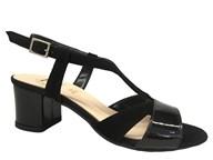 HB Black Suede Strappy Mid Heel Sandal