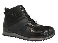 Waldlaufer Black Multi Pattern Lace-Up Ankle Boot