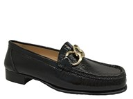 HB Black Patent Moccasin With Gold Trim