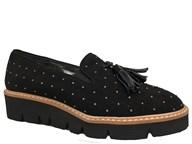 HB Black Suede Stud Loafer With Tassels