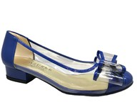 Azuree Bantu Blue & Vinyl Bow Pump
