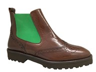 HB Brown & Green Leather Chelsea Boot
