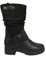 Gabor 'Diane' Black Leather Mid Calf Boot