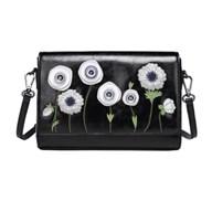 Vendula White Poppy Flap Front Crossbody Clutch Bag