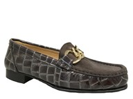 HB Grey Patent & Suede Moccasin With Gold Trim