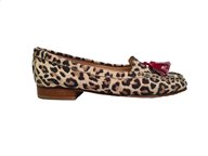 Hb Leopard Moccasin With Patent Red Tassels