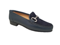 Hb Navy Leather Moccasin With A Suede Vamp
