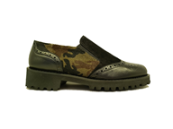 Hb Black Leather Moccasin With a Subtle Camouflage Pattern