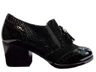 HB Black Mid Block Heel With Brogue Detailing