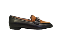 Hb Moccasin In Black With A Tan Vamp