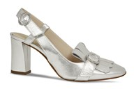 Lisa Kay Helene Silver  Leather Sling Back