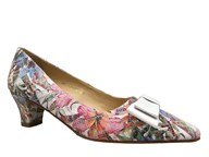 HB 'Luz' Floral Leather Low Heel Shoe