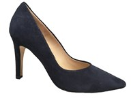 Perlato Navy Suede Shimmer High Heel Court Shoe
