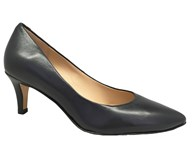 Perlato Navy Leather Classic Court Shoe