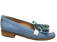 HB Pale Blue & Multi Coloured Patent Loafer