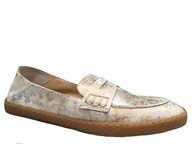 Perlato Silver & Gold Suede Soft Loafer