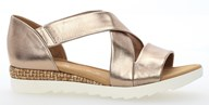 Gabor 'Promise' Pewter Leather Strappy Sandal