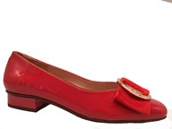HB 'June' Red Patent Pump With Gold Trim Detail