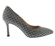 Capollini Herringbone High Heel In Black and White