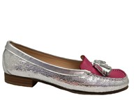 HB Silver & Pink Leather Moccasin