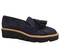HB Navy Suede Stud Loafer With Tassels