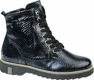 Waldlaufer Navy Crinkle Patent Lace Up Boot
