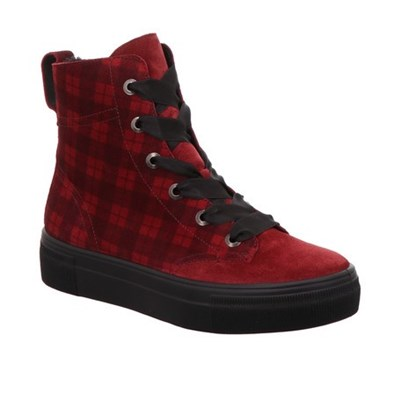 Legero Red and Check Suede Ankle Boot
