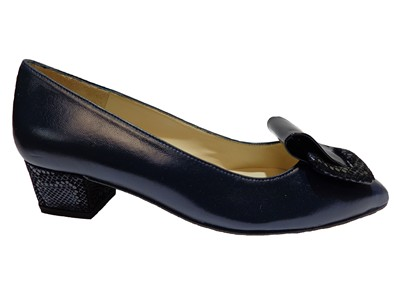 HB Navy Low Heel Court With Toe Detail