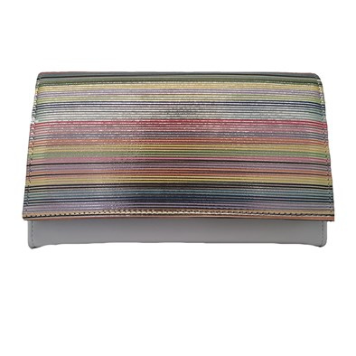 Hb White Multi Stripe Clutch Bag With Strap