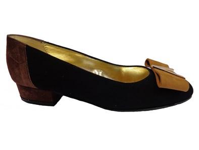 Azuree Black & Brown Suede Low Heel Shoe