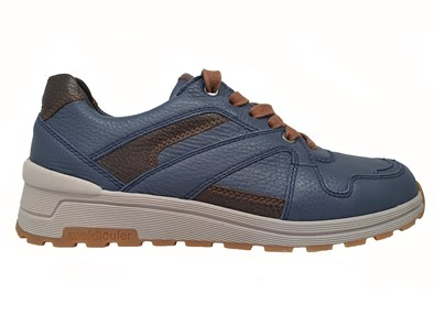 Waldlaufer 'Etienne' Mens Trainer In Navy With A Touch Of Brown