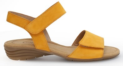 Gabor 'Entitled' Mustard/Manga low wedge with two adjustable straps