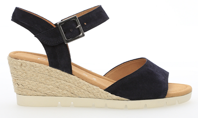 Gabor 'Nieve' Navy Suede Leather Wedge Sandal