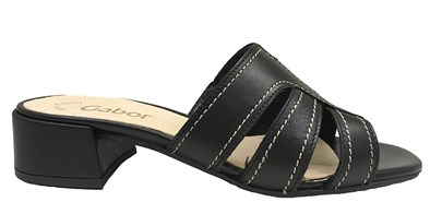 Gabor 'Amos'Black Leather Mule Sandal