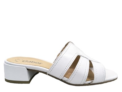 Gabor 'Amos' White Leather Mule Sandal