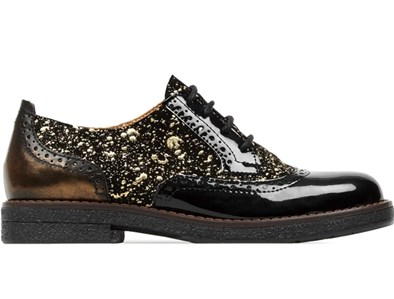 Embassy London 'Artist' Brouge In Black  and Gold