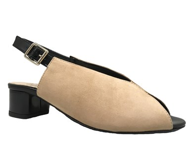 HB 'Scozia' Beige Suede & Patent Peep-toe Sandal