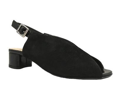 HB 'Scozia' Black Suede & Patent Peep-toe Sandal
