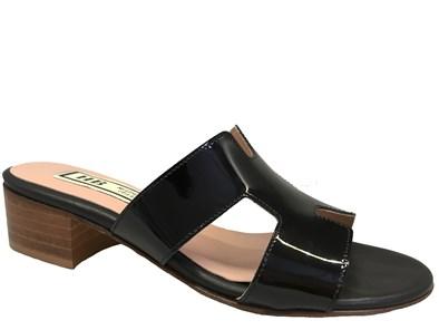 HB Black Patent Low Heel Mule