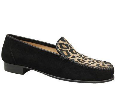HB Black & Leopard Print Suede Mocasin